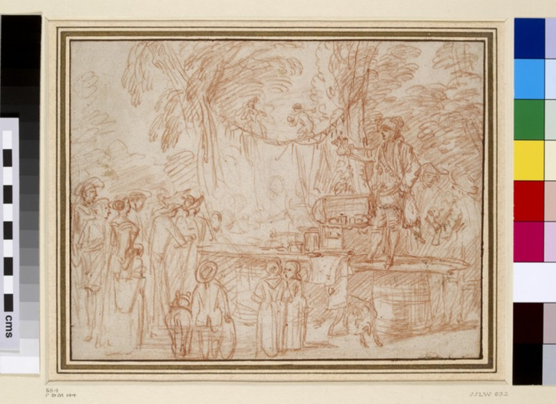 Recto: A quack doctor selling his wares in the open air<br />Verso: A quack doctor seated on a stage, selling his wares, with four other figures and a monkey (WA1863.128)
