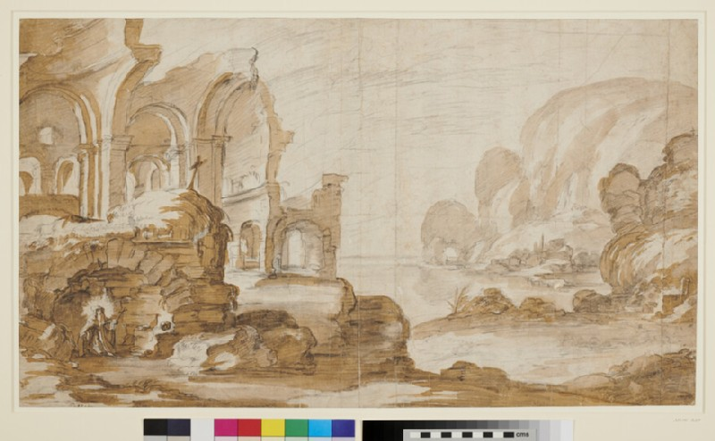 St Anthony kneeling before an Altar in a Vault, below palatial Ruins (WA1863.13, recto)