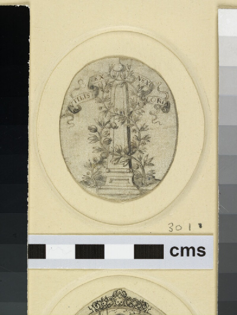 An oval depicting an obelisk entwined with foliage