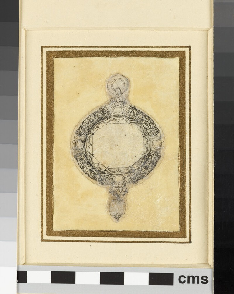 Design for a pendant jewel: A design for a circular pendant enclosing an octagonal table-cut stone (WA1863.133.411)