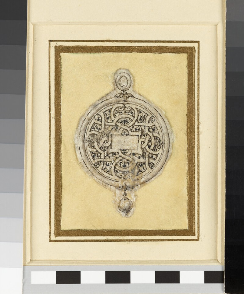 Design for a pendant jewel: design for a circular pendant with arabesque ornament enclosing a central blank rectangle