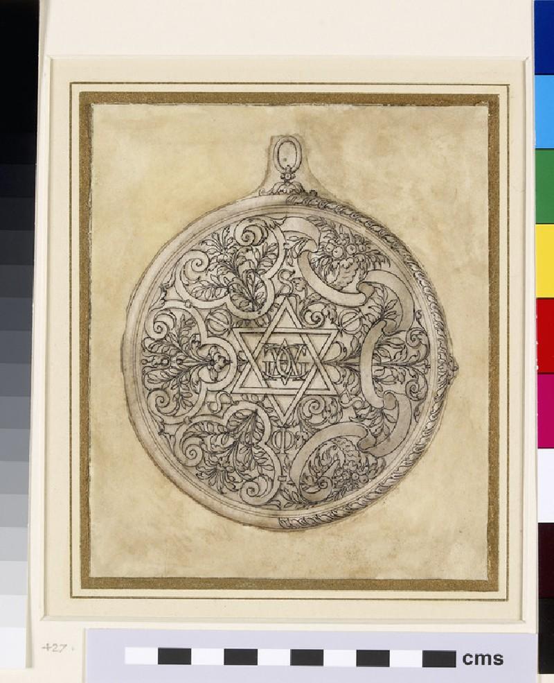 Design for a pendant jewel: A design for a circular pendant containing a monogram of AGG inside a double-delta