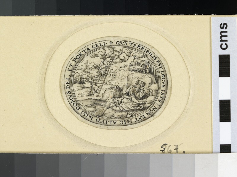 A horizontal oval depicting Jacob and the ladder