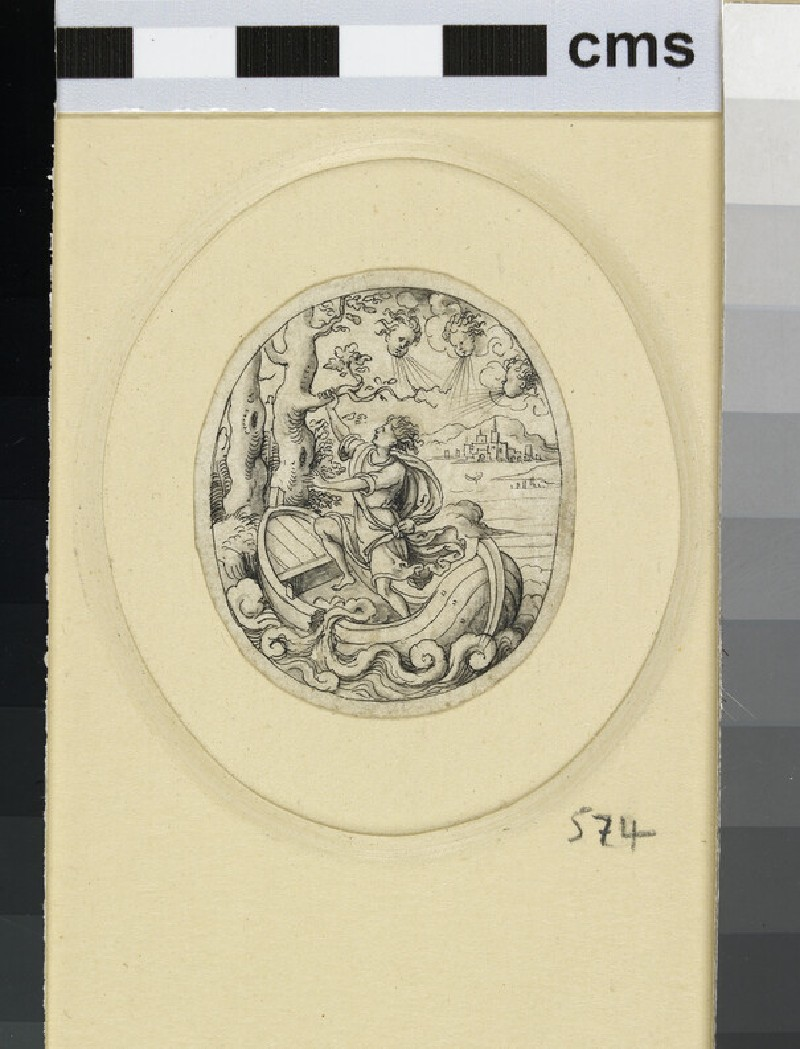 An oval depicting a man standing in a boat on rough water and blown by three winds, clutching a branch of a tree (WA1863.133.574)