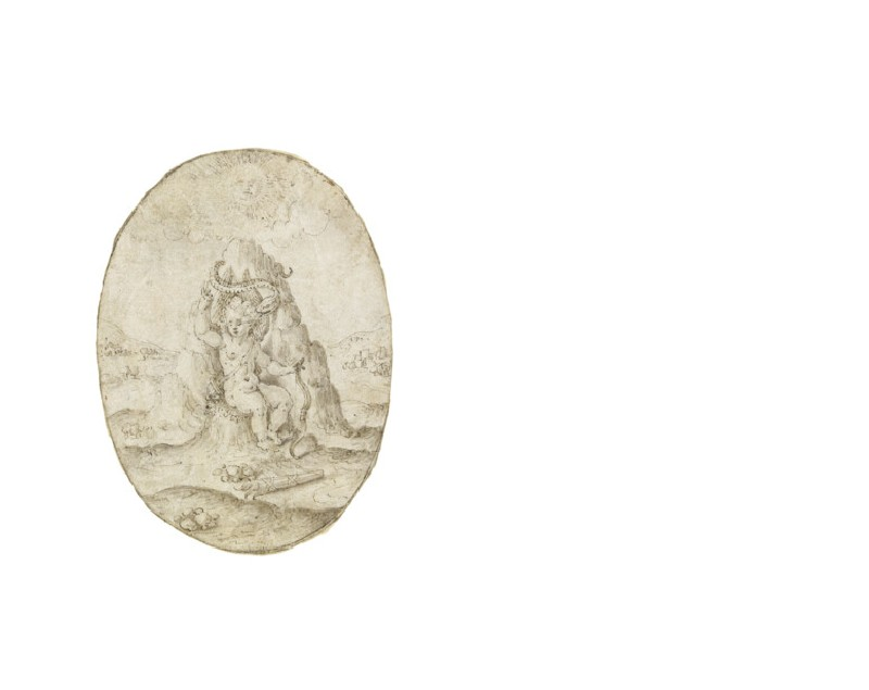 An oval depicting Cupid seated by a rock around which coils a serpent