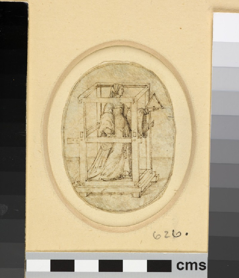 An oval depicting a girl inside a framework of wood, holding a triangle