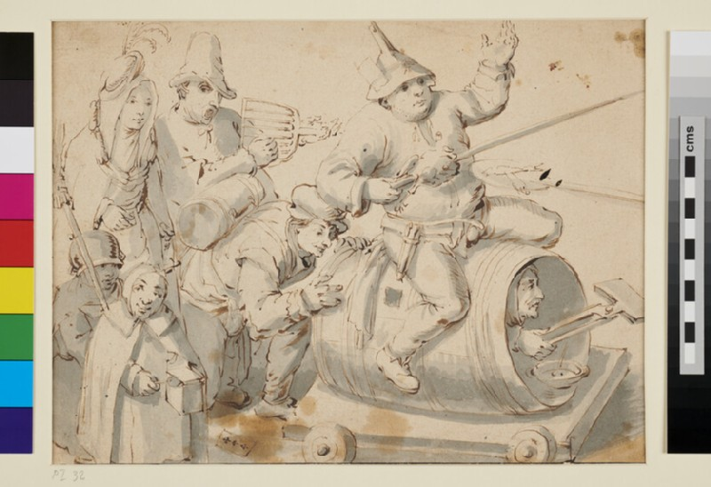 Composition of seven Figures symbolizing Carnival (WA1863.164, recto)