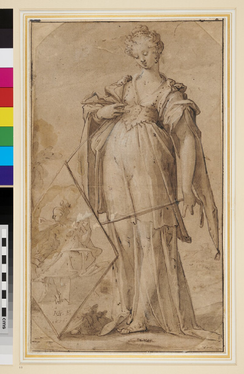 Recto: Woman holding a Shield <br />Verso: Fighting scene