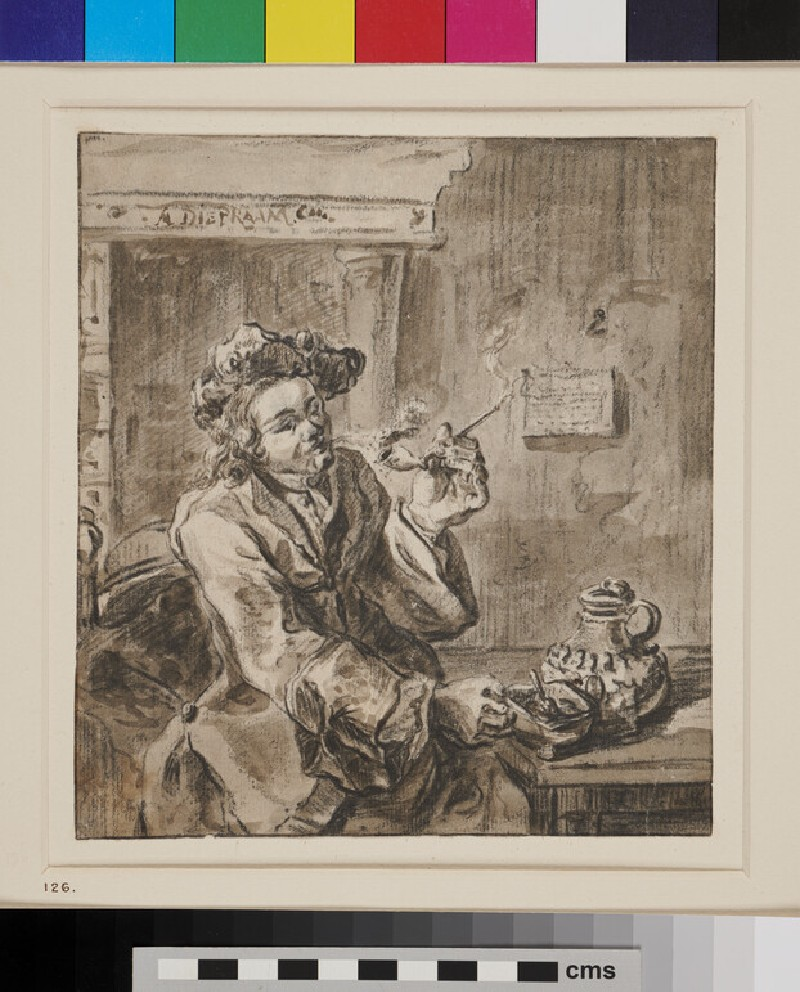 Man Smoking in an Interior