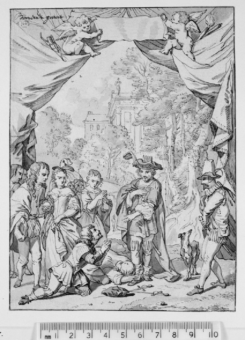 The King of Napels bestows Mercy on the two Traitors Frederico and Albano