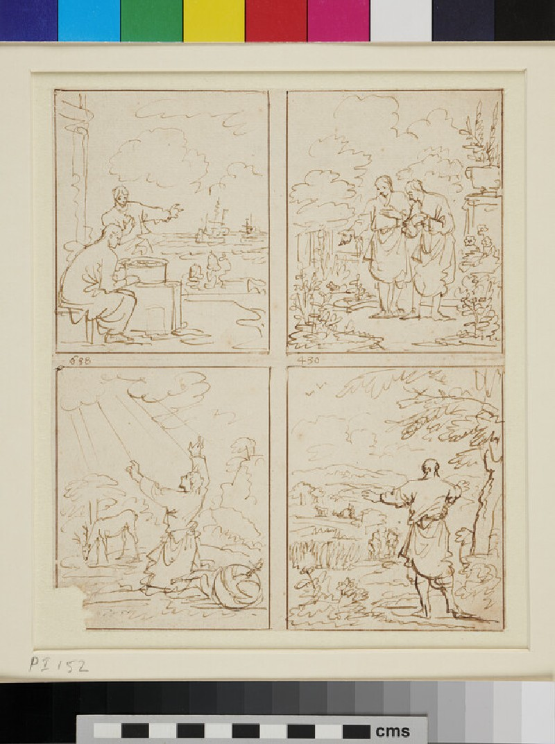 A Page of Sketches for devotional Book Illustrations (WA1863.263, recto)