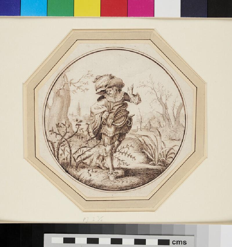 A Cavalier in a Landscape, his Cloak caught in a Bramble Bush (WA1863.295, recto)