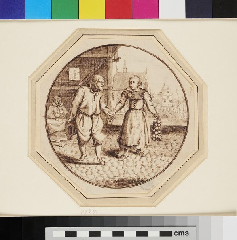 A Woman handing an Onion to a Man (WA1863.297, recto)