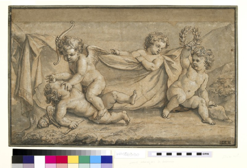 Two cupids fighting, watched by two putti, one holding a wreath (WA1863.30)