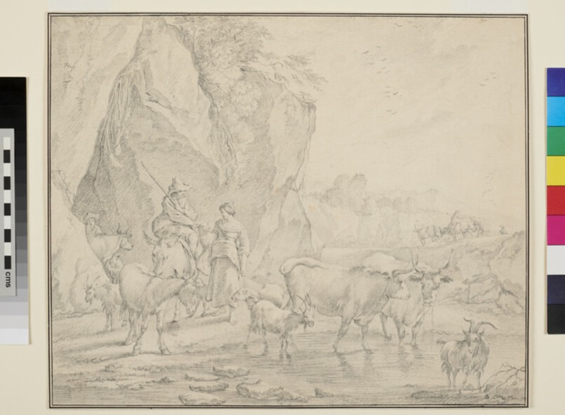 Shepherd seated on a Donkey talking to a Shepherdess