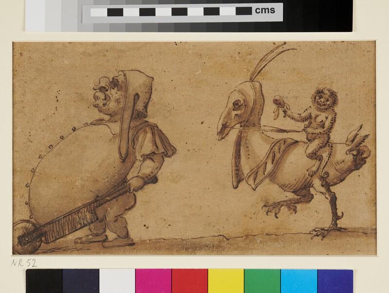 Grotesque Figure with Wheelbarrow and Monkey riding a Bird