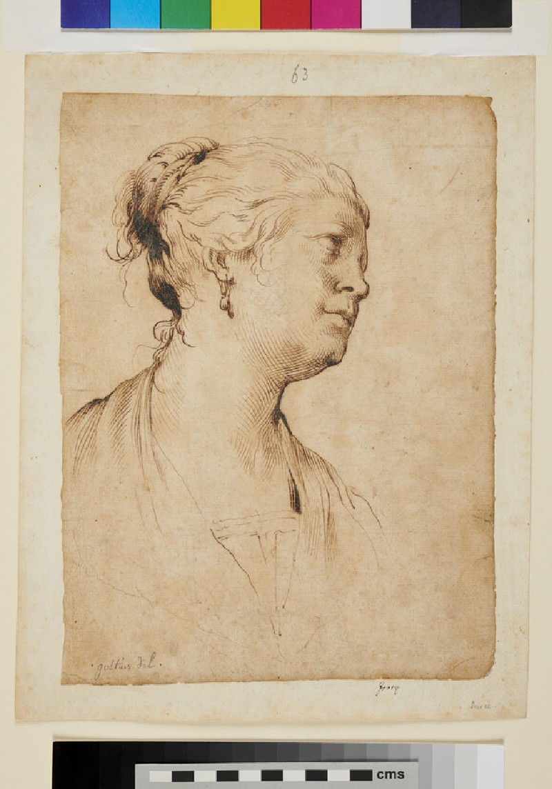 Head and Shoulders of a Woman, seen in profile to the right (WA1863.380, recto)