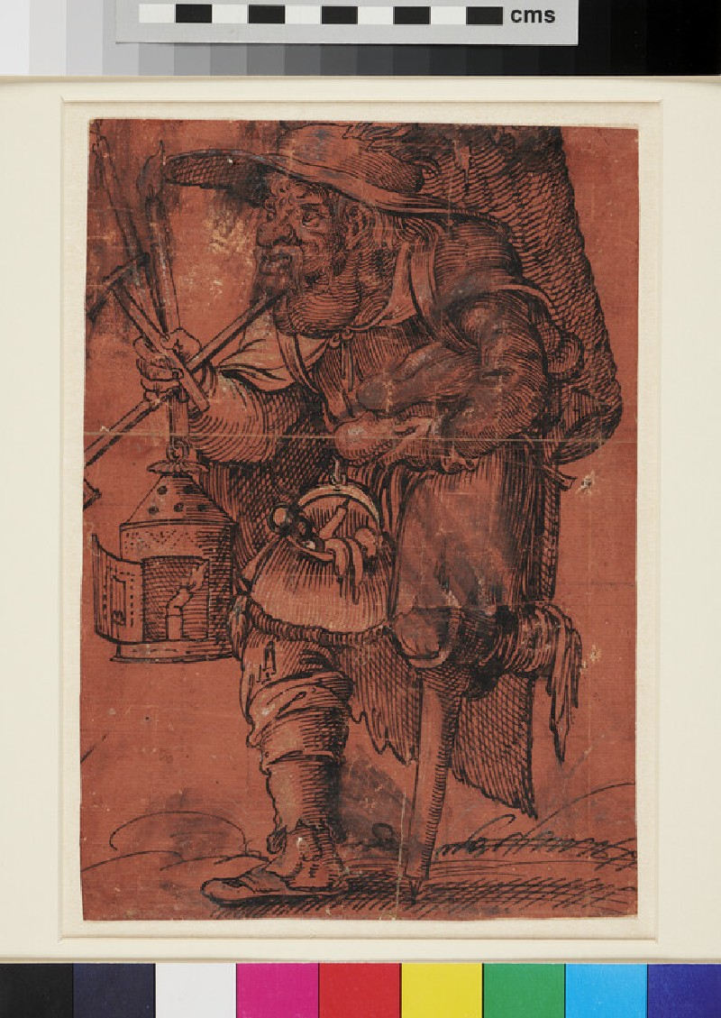 Grotesque Figure of a Man with a wooden Leg (WA1863.397, recto)