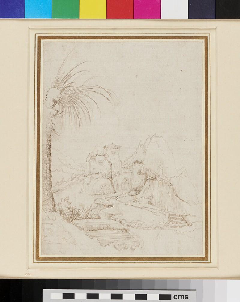 Recto: Landscape <br />Verso: Study of a Figure (WA1863.426, recto)