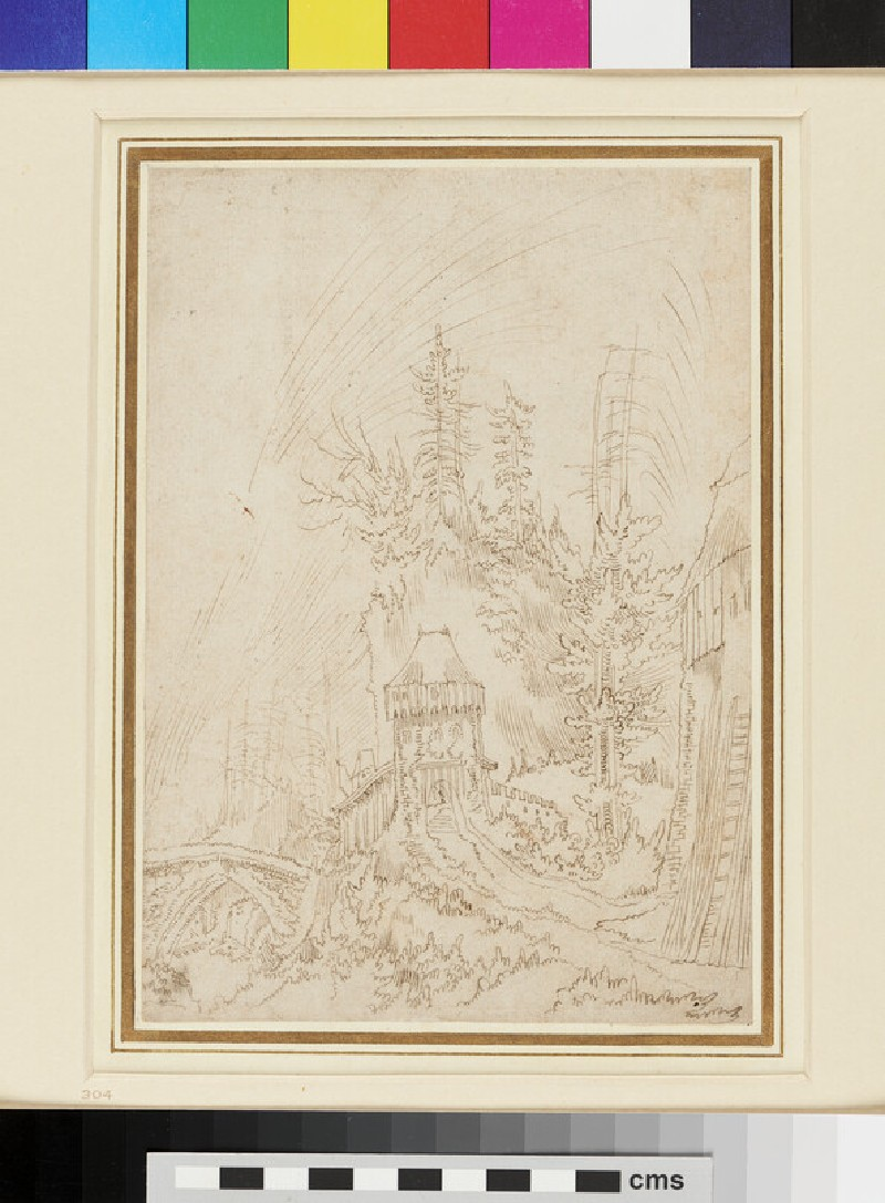 Recto: Landscape <br />Verso: Study of a Figure (WA1863.429, recto)