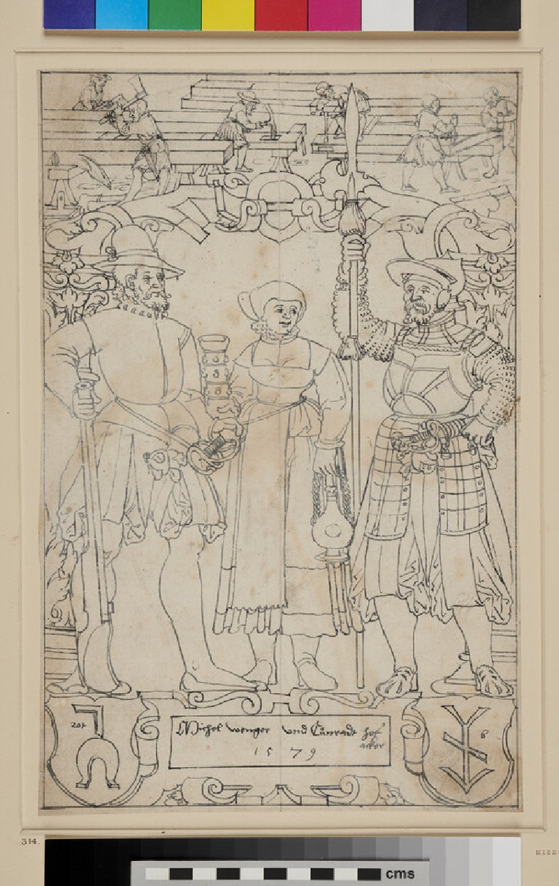 Design for a Panel of stained Glass (WA1863.439, recto)