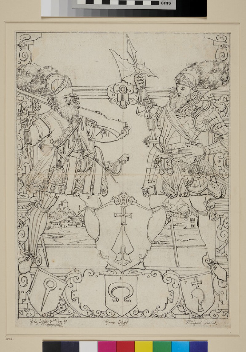 Design for a panel of stained glass with the Dörflingen coat of arms (WA1863.471, recto)