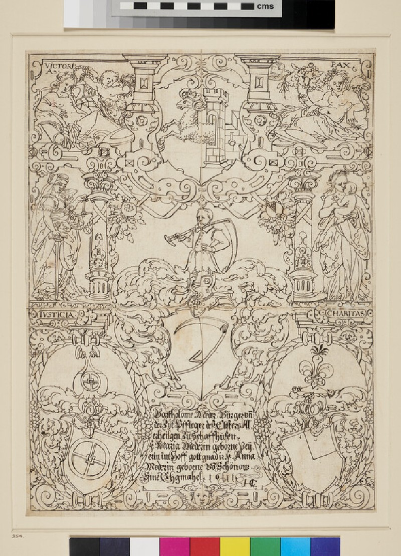 Design for a Panel of stained Glass (WA1863.475, recto)