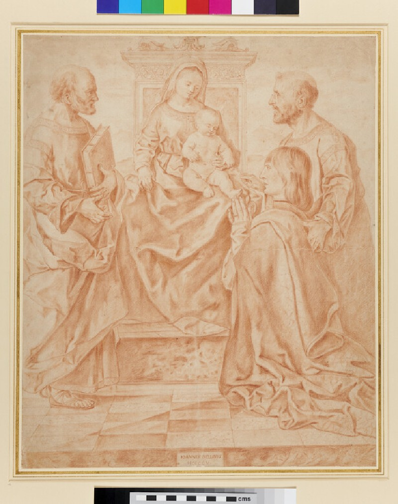The Virgin and Child enthroned with St Peter, St Mark and a Donor (verso)