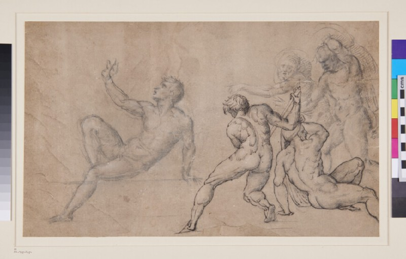 Figures in a Martyrdom of St Lawrence (WA1863.637, verso)