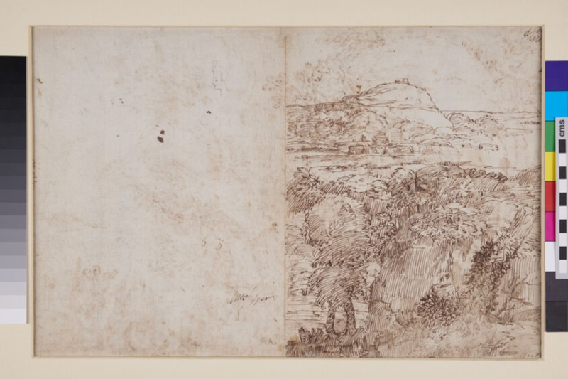 Recto: Landscape with St John the Baptist preaching