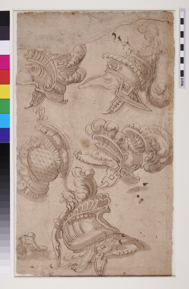 Recto: The Drunkenness of Silenus<br />Verso: Studies of five ornate plumed helmets and of a crouching figure (WA1863.653, verso)