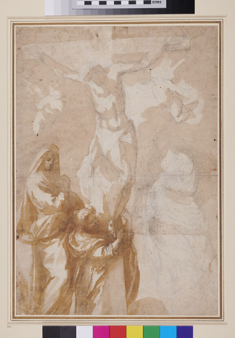 The Crucifixion with the Virgin Mary, St John the Evangelist, St Mary Magdalen and two Cherubs