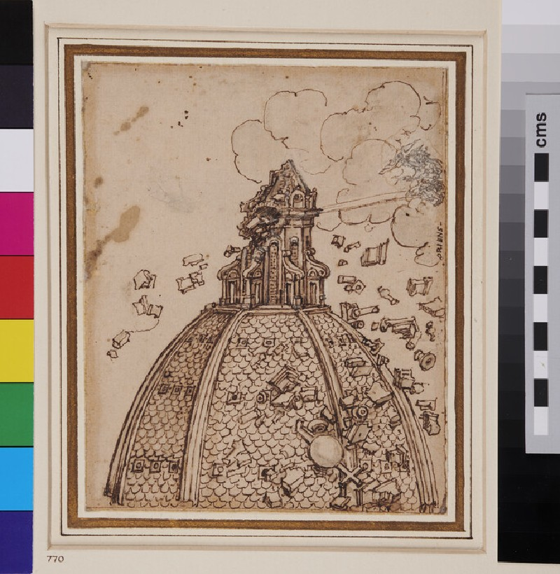 The Cupola of S. Maria del Fiore struck by Lightning (WA1863.686, verso)