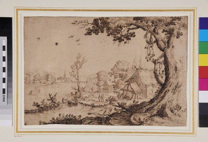 Landscape with cottages on a river bank (WA1863.687, verso)