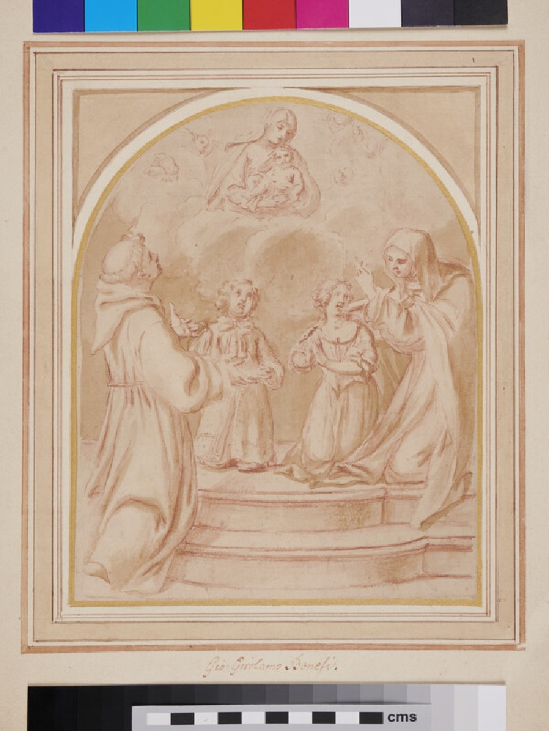 Two Children before a Vision of the Virgin and Child (recto)