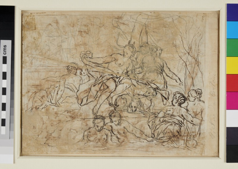 Recto: Diana and her Nymphs surprised by Acteon<br />Verso: Alternative composition of the same subject (WA1863.720, verso)