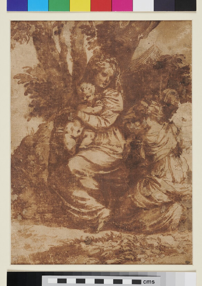 The Virgin and Child with a kneeling female Saint and another figure
