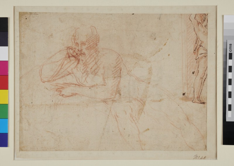 Recto: Design for a Fountain<br />Verso: Studies of a seated bearded male Figure and of a standing Youth (WA1863.755, recto)