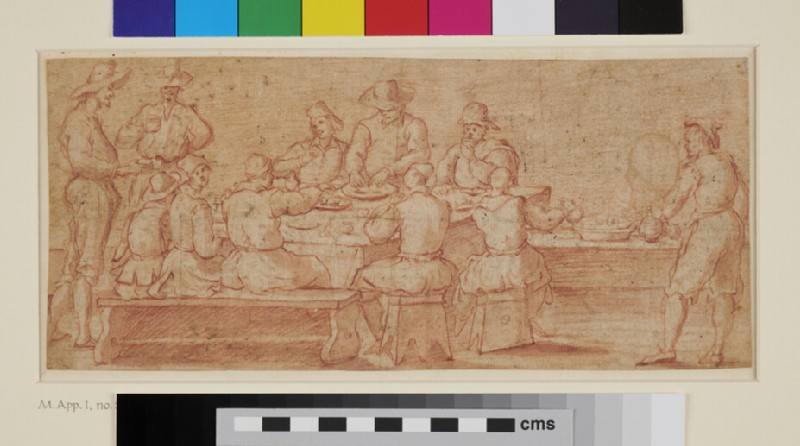 Group of Men dining at a Table (WA1863.778, recto)