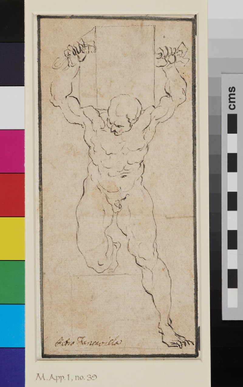 Nude Man carrying a Box on his Shoulders (WA1863.780, recto)
