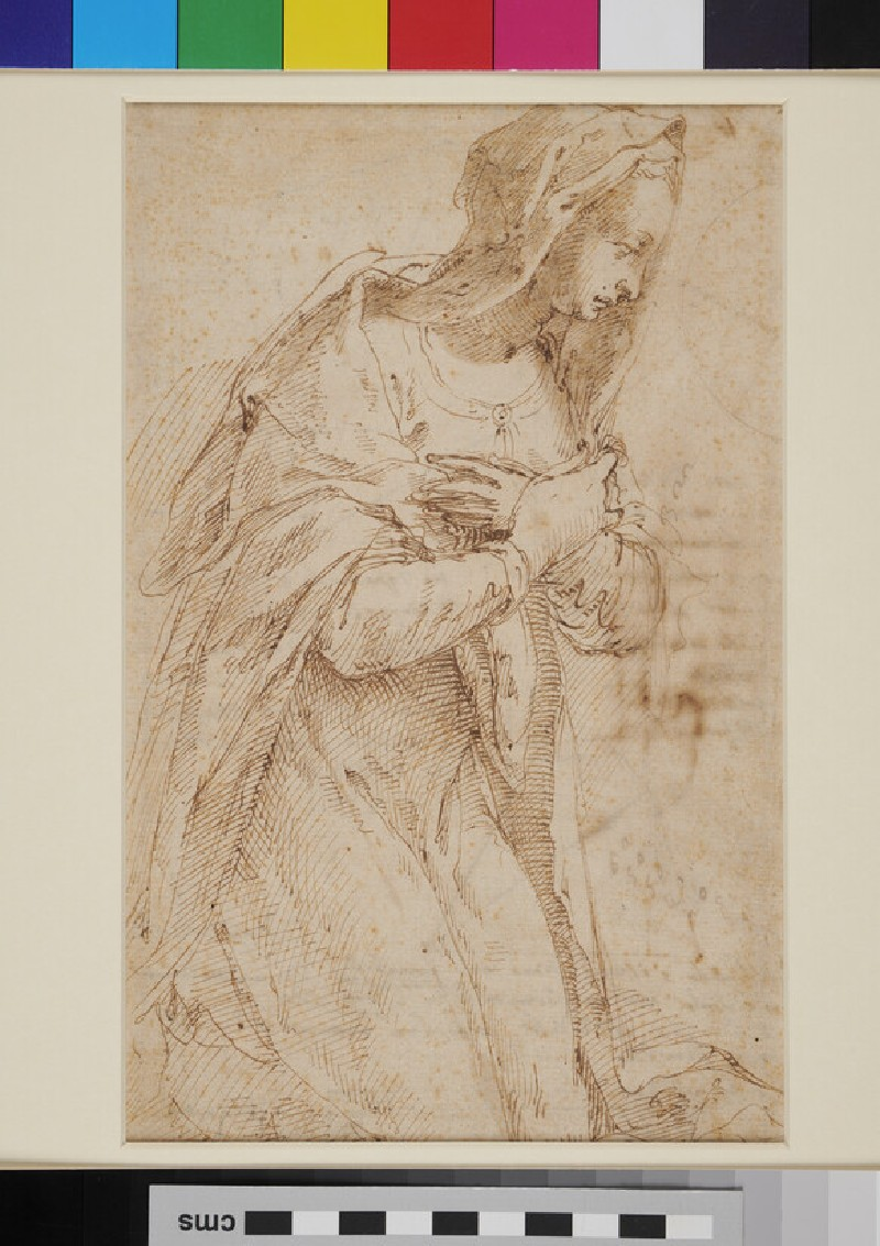 Recto: The Virgin of the Annunciation<br />Verso: Various geometrical figures with inscriptions (recto)