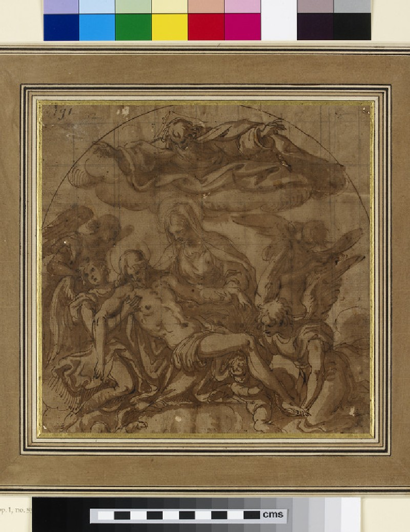 The Virgin and Angels lamenting over the dead Christ, with God the Father, above. Design for an arched Composition (WA1863.793)