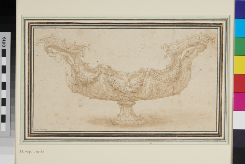 Design for a table vessel in the form of a ship (WA1863.806, recto)