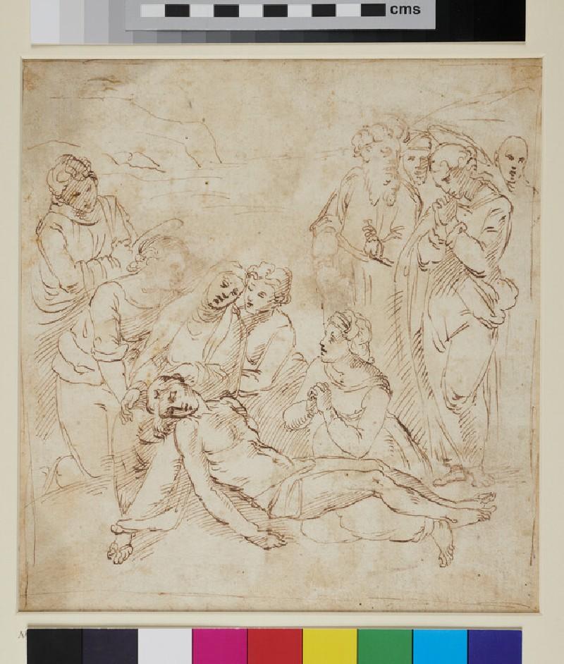 Composition of ten figures for a Pietà (WA1863.818, recto)