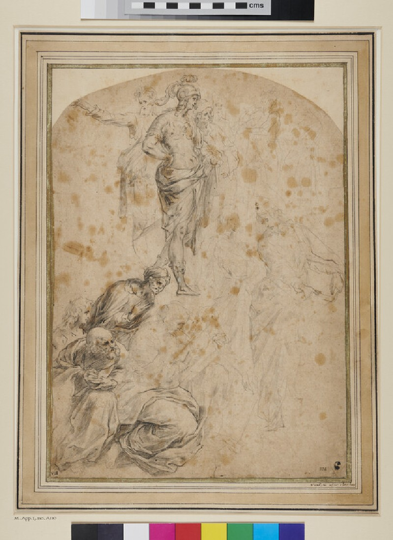 Sheet of Studies after a detail from the School of Athens (WA1863.823, recto)