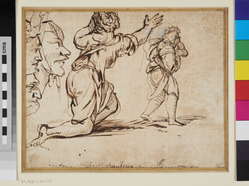 Sheet of Studies: three Heads, a kneeling Woman and a Boy (WA1863.836, recto)