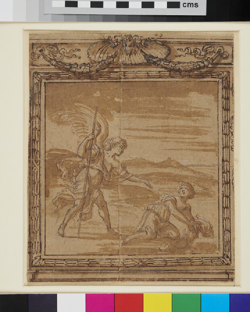 Tobias and the Angel. Design for a mural decoration within an ornate frame (WA1863.839, recto)