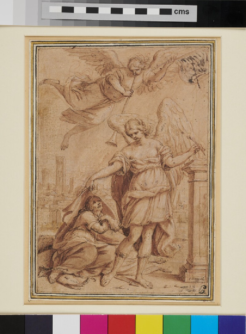 Allegorical Subject with an Angel, a kneeling Man, and a Figure of Fame above (WA1863.870, recto)