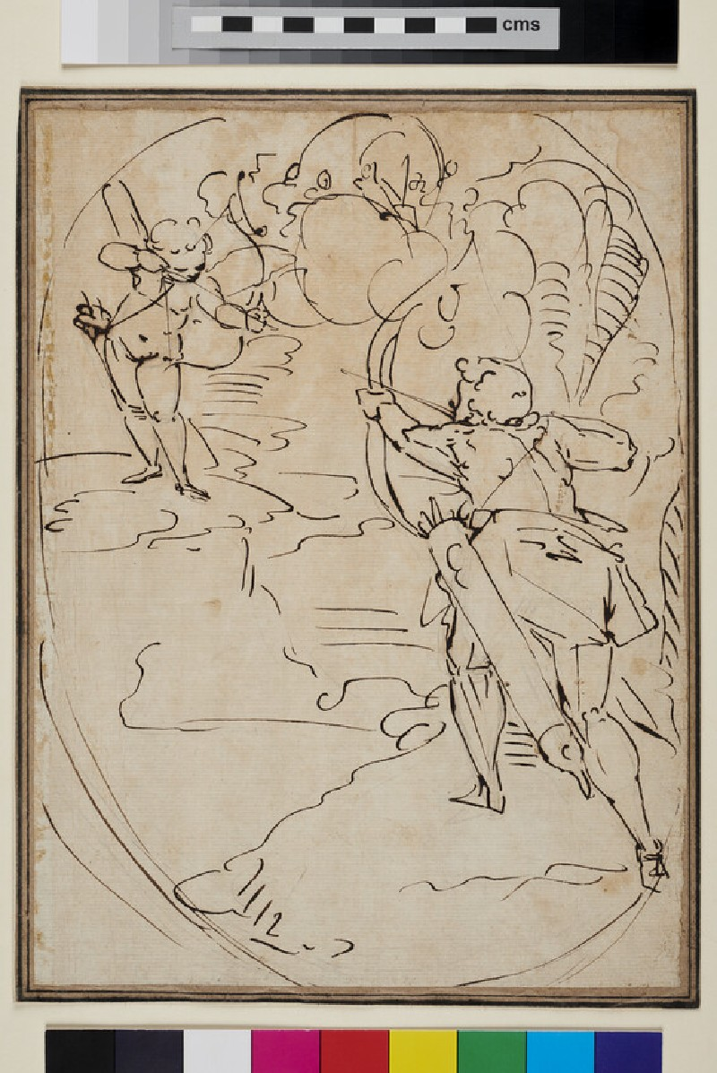 Cupid and an Archer shooting arrows at each other: Design for an oval Composition (WA1863.907, verso)