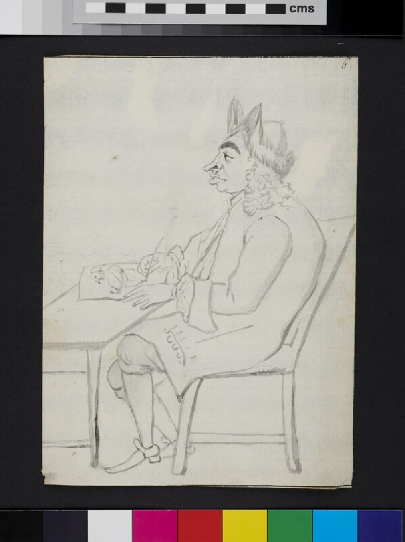 Caricature of a man seated at a desk, drawing